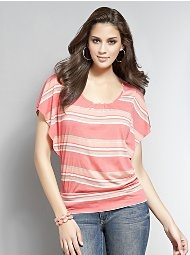 Striped Flutter-Sleeve Knit Tunic