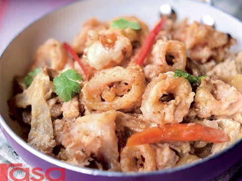 Sotong Goreng Telur Masin Gaya Thai