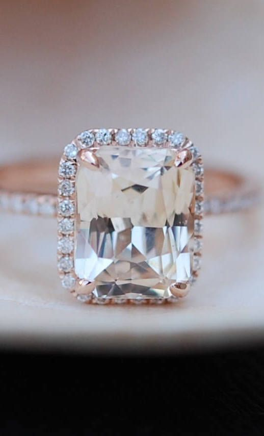 Champagne Engagement Ring. Emerald cut