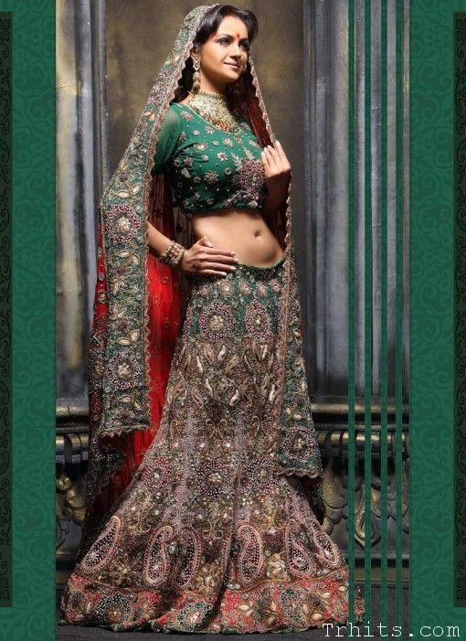 Traditional Indian Lehenga Green Indian Bridal Dresses