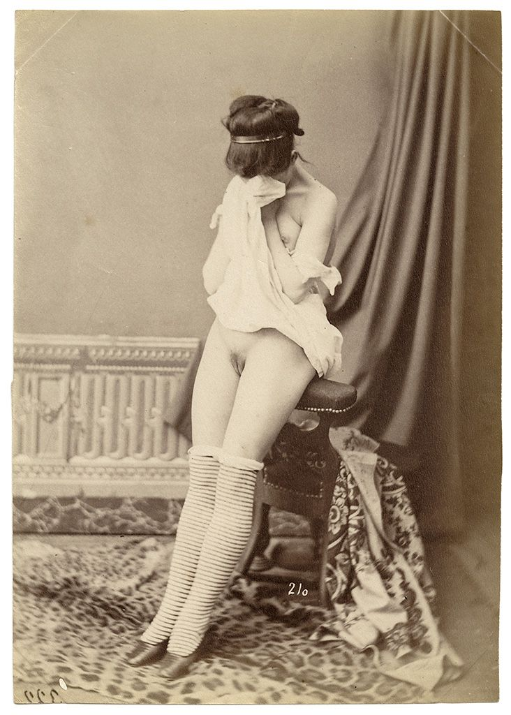 ANONYMOUS Female Nude, Paris, ca. 1880 Albumen print from a glass negative, unmounted, 136 x 98 mm.