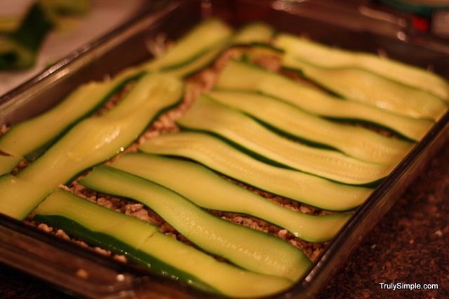 Zucchini lasagna, using zucchini ribbons in place of lasagna noodles