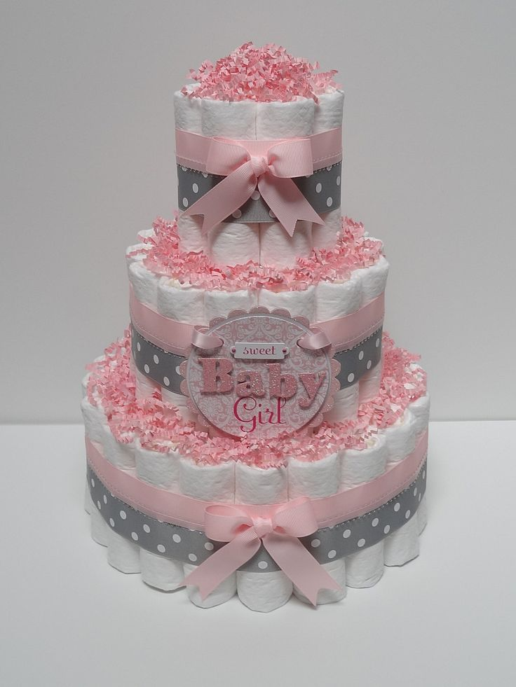 Baby+Girl+Pink+And+Gray+Diaper+Cake+Baby+by+LanasDiaperCakeShop,+$49.99
