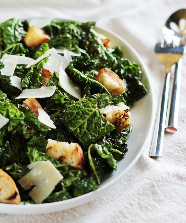 Recipe: Garlicky Grilled Kale Salad with Grilled Bread | Kitchn