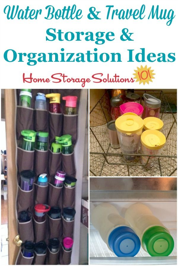 Travel mug and water bottle storage and organization ideas, to keep these items corralled and from overtaking your kitchen cabinets {on Home Storage Solutions 101} #KitchenStorage #StorageSolutions #HomeStorageSolutions