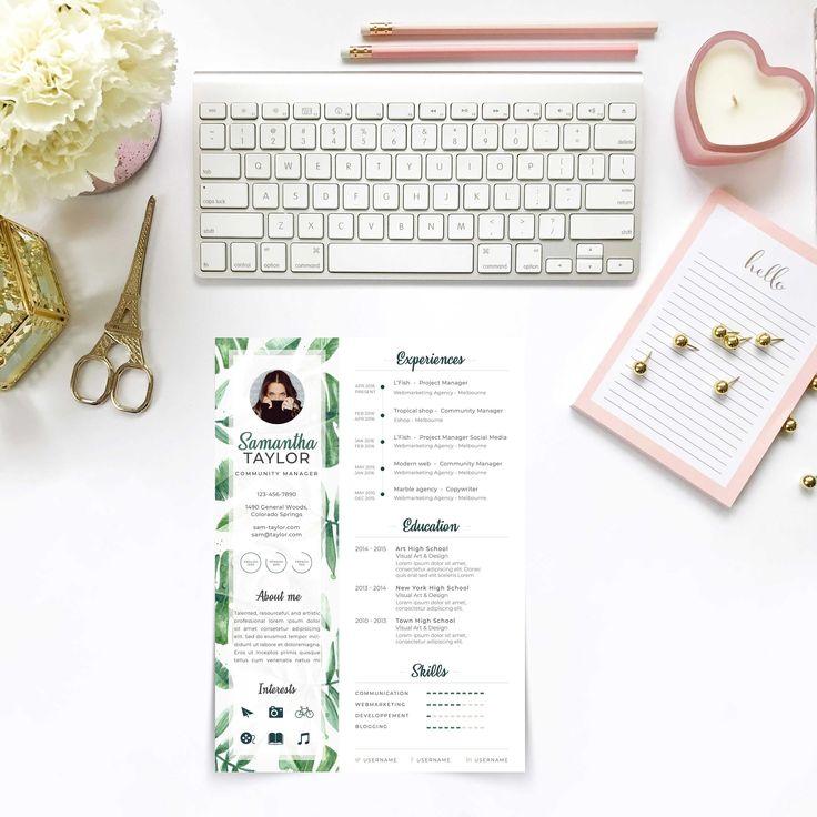 Feuilles Tropical - Curriculum Vitae / Modèle de CV professionnel + Lettre de motivation - Pour ...
