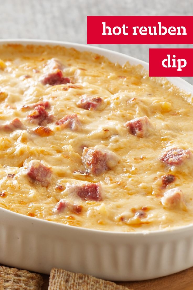 Hot Reuben Dip – Make this Hot Reuben Dip by combining cream cheese, Thousand Island dressing, and corned beef. This cheesy appetizer recipe is our take on a New York deli classic.