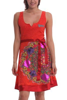 Desigual women's Argentina dress with a detachable satin belt and hem. The neckline on this dress will make sure that all eyes are on you. Super sexy fit.