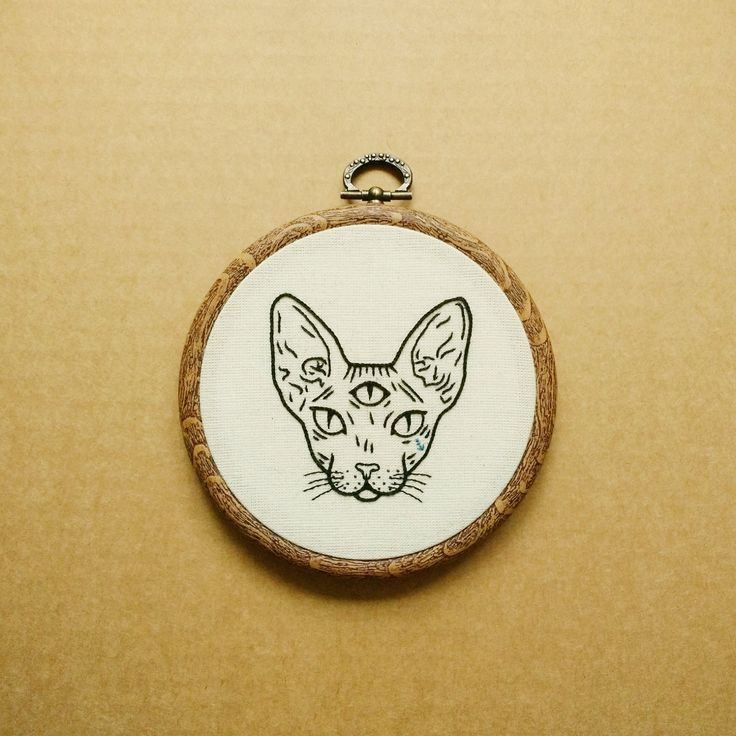 Three Eyed Sphynx Cat Hand Embroidery Hoop Art (embroidery wall hanging - tattoo patch) by ALIFERA on Etsy