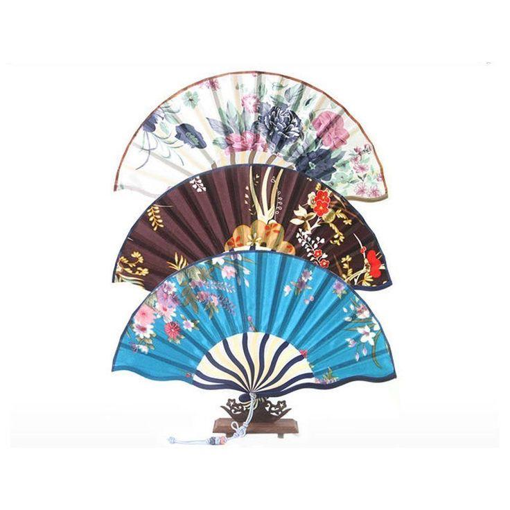 Korea Traditional Oriental Silk Wavy Frame Floral Folding Hand Fan #Handmade #Casual