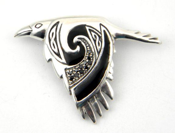 Sterling Silver Celtic Flying Raven Charm Slider Down Wing Odin - This beautifully detailed Celtic raven pendant can be worn as a symbol of the Norse god, Odin, or the Celtic goddess, Morrigan. $99.95