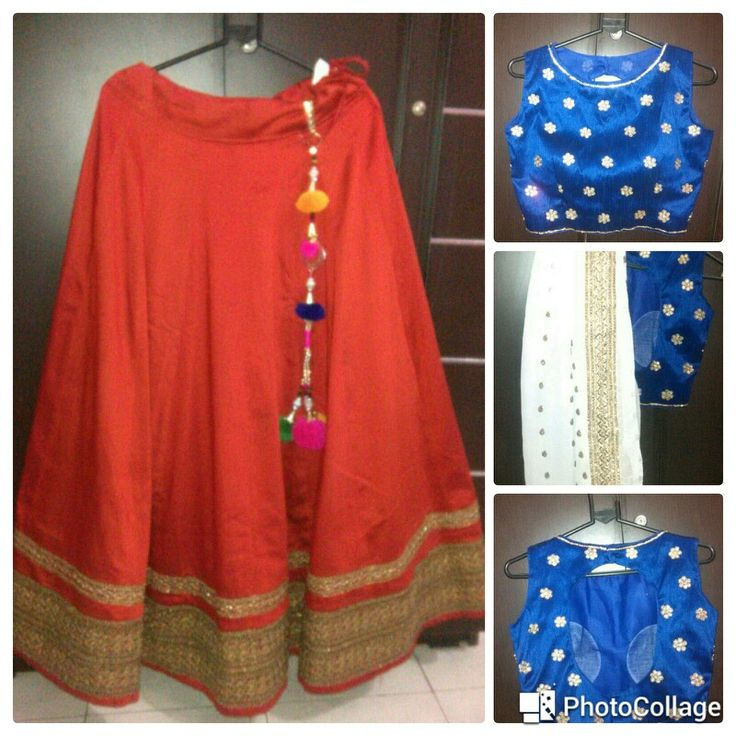 Red raw silk lehenga with blue embroidered crop top and embroidered dupatta Price-7000/-