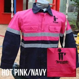Cuties By Zootys - Hot Pink & Navy - Original Hi Viz Kids Work Shirt