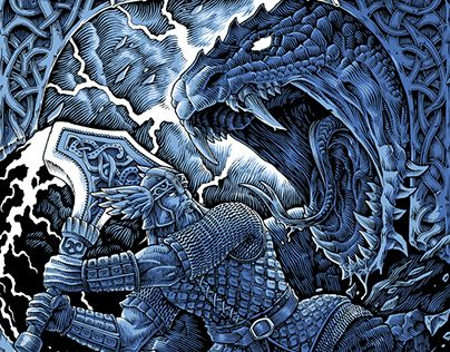 "Check out new work on my @Behance portfolio: ""Ragnarok illustrations"" http://be.net/gallery/53872325/Ragnarok-illustrations  Thor, Fenrir, Jormungandr. Norse mythology, ragnarok, vikings, dark fantasy, etching, ink drawing, t-shirt illustrations."