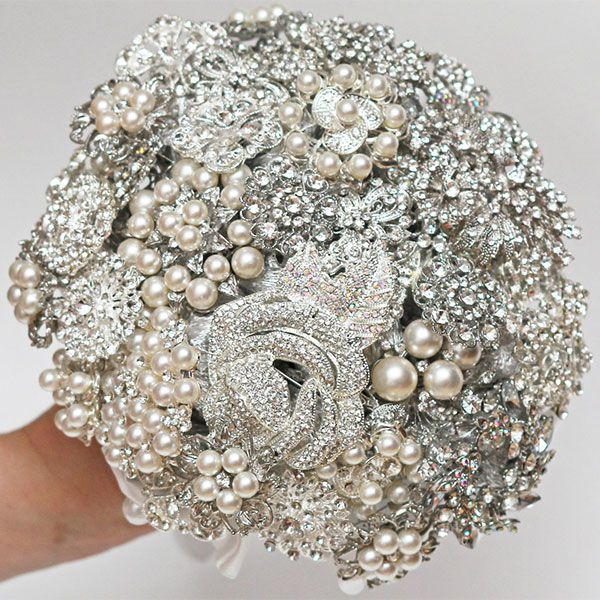 brooch bouquet- unique- w/ fake pearls & rhinestone brooches