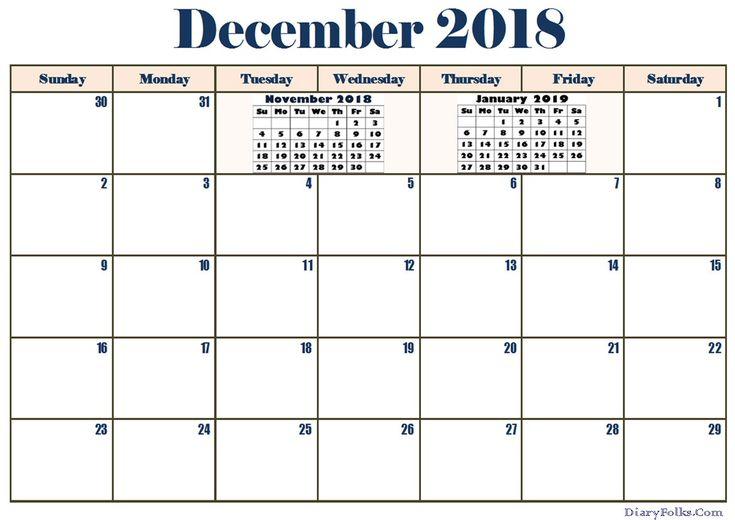 December 2018 Calendar Word Printable December 2018 Monthly