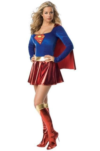Sexy Super Woman Costume Long Sleeve