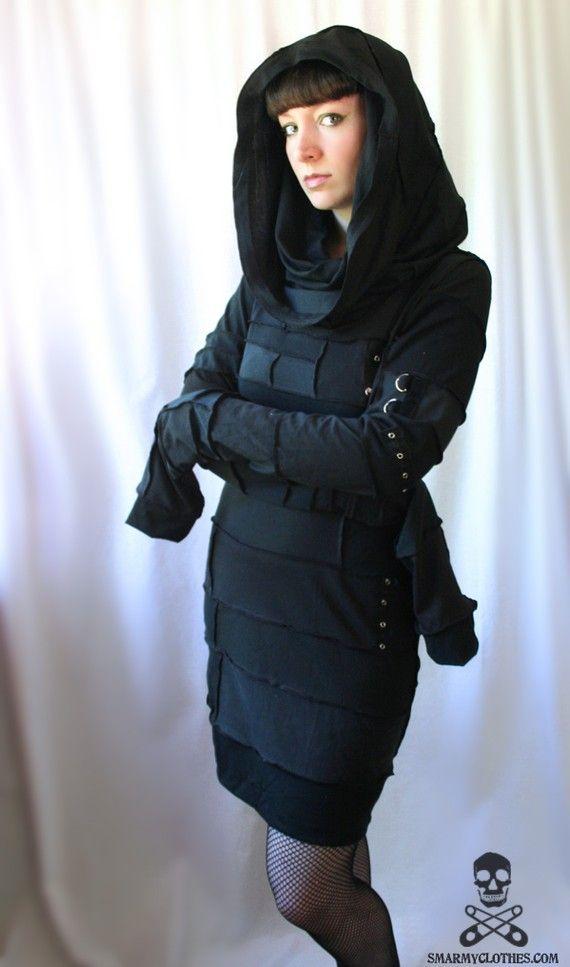 custom REAPER cowl hood cyberpunk zombie dress  by smarmyclothes, $255.00