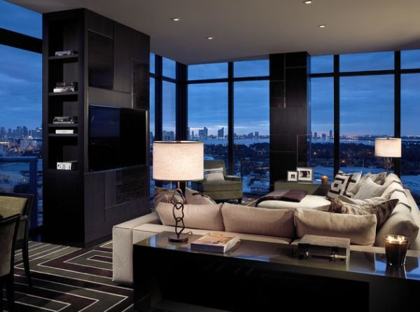 Masculine living room design for a stylish bachelor pad