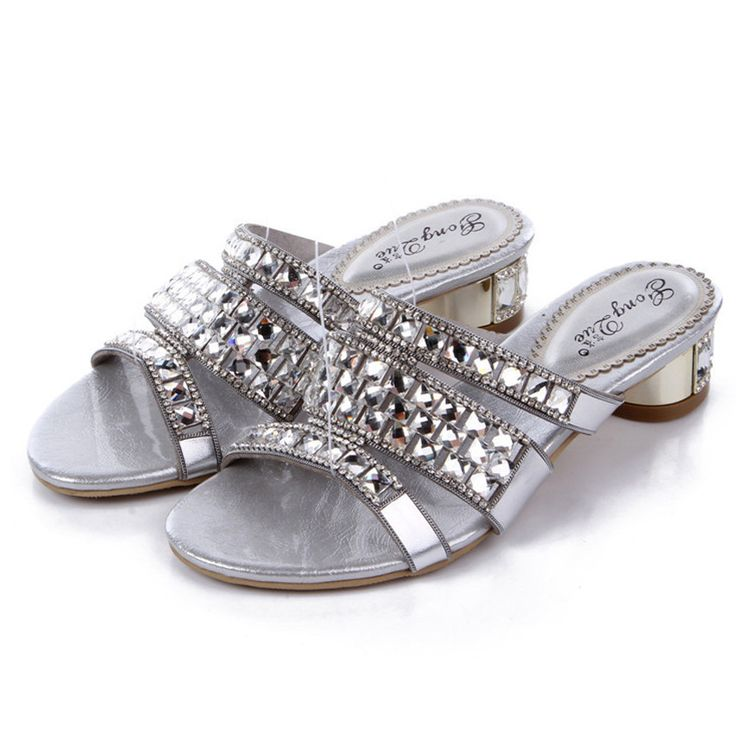 2016 Summer New Silver Diamond Roman Women Shoes Sheepskin Slipper Rhinestone Sandals High Quality