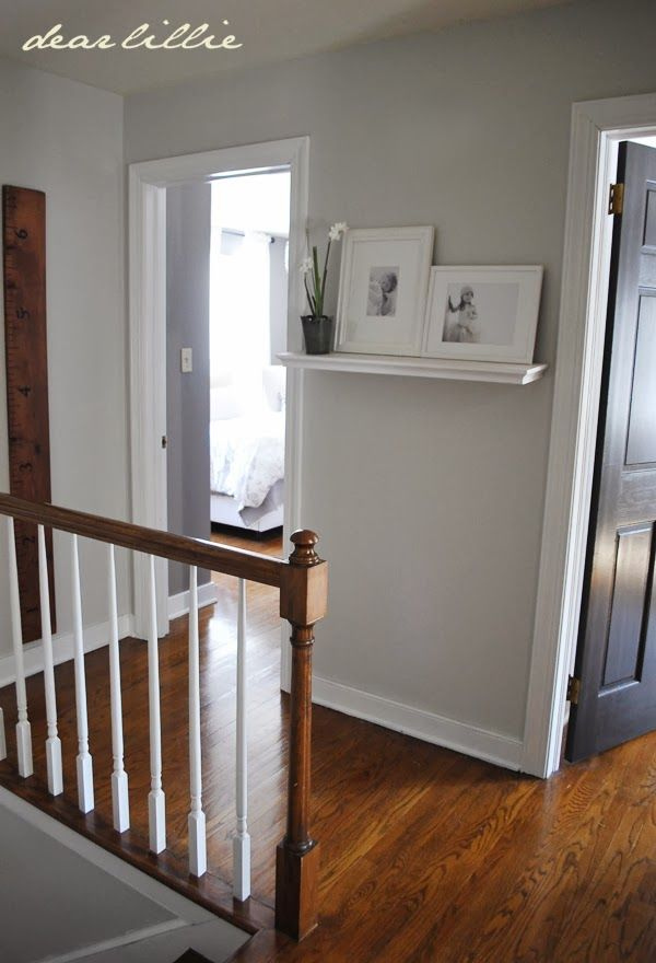 Progress in the Upstairs Hallway  by Dear Lillie -- Wall color: Matte finish -- Moonshine, BM and Semi Gloss - Simply White, BM