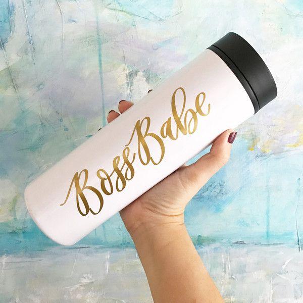 Travel Mug Boss Babe Travel Mug Girl Boss Coffee Mug Personalized Mug... ($17) ❤ liked on Polyvore featuring home, kitchen & dining, drinkware, drink & barware, gold, home & living, mugs, personalized travel cups, black mug and personalized mugs