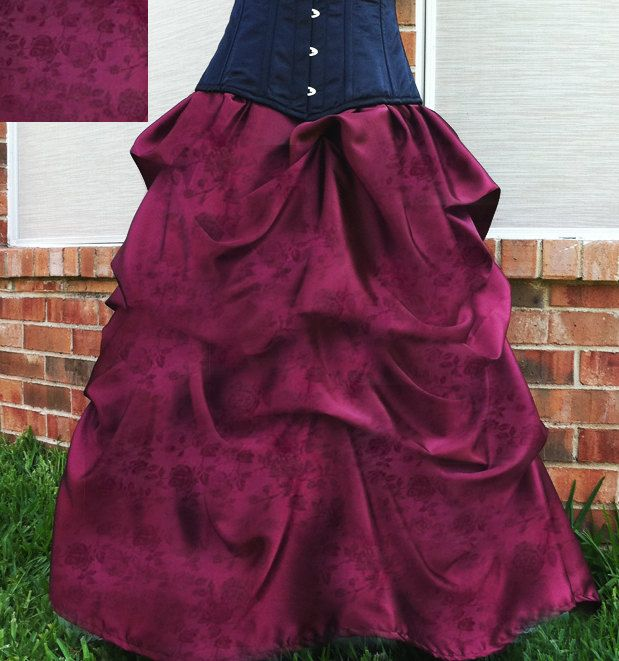 Elegant belle bustle skirt in satin rose brocade by AzAcCouture