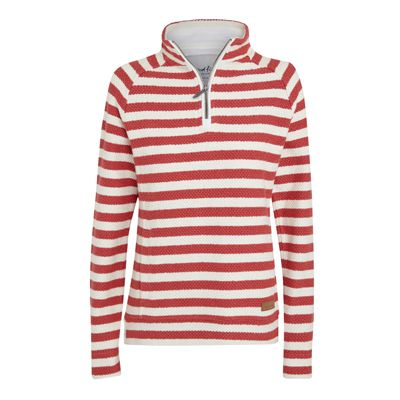Wren Striped 1/4 Zip Macaroni Sweatshirt A twist on a classic 1/4 zip macaroni sweatshirt. Featuring a bold stripe, side hip vents and leather branded badge. Cotton lined sleeves can be easily turned up