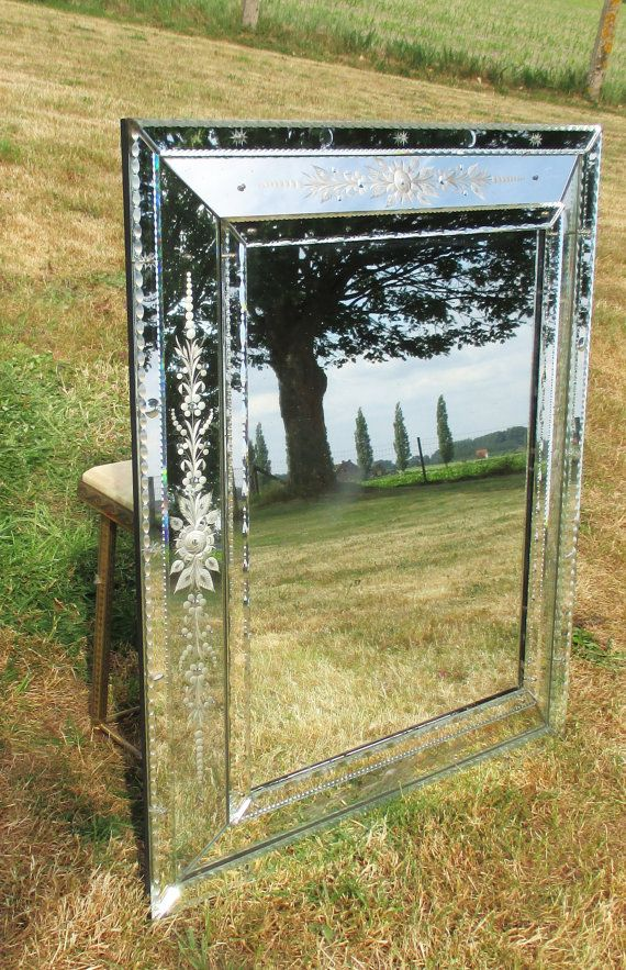 Large Antique French Engraved Cut Crystal Mirror by Tweedeleven