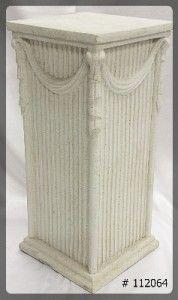Pedestal with tassle  28 inch tall  12x12x28  ivory