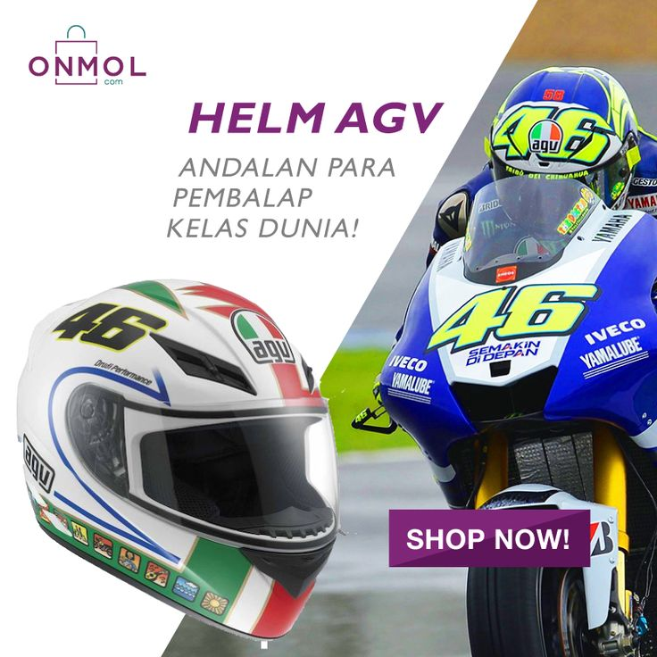 Pake Helm AGV, serasa jadi Pembalap Moto GP Kelas Dunia! Buruan miliki segera Helm AGV dengan harga menarik di OnMol.com sekarang juga. Cek Dsini  #OnMolID #Otomotif