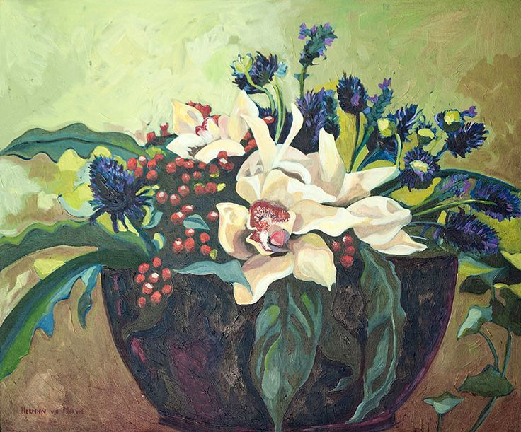 Title: Still life with Orchids Medium: Oil paint on stretched canvas Size: 905mm x 800mm