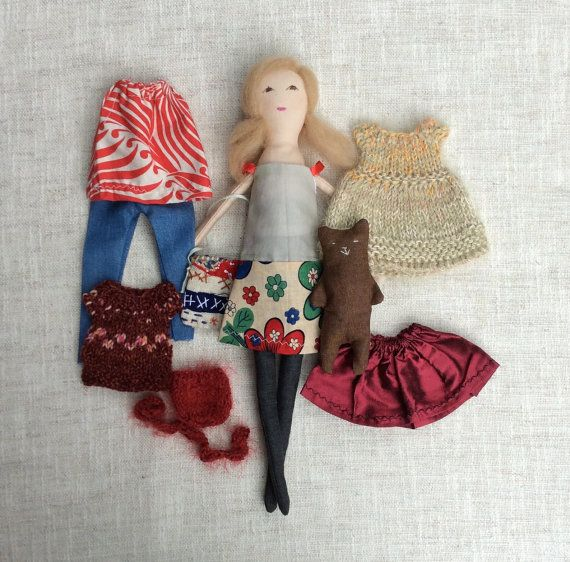 Dress up doll, Handmade cloth doll, doll set, doll with teddy bear, soft doll, dolls to dress, rag doll