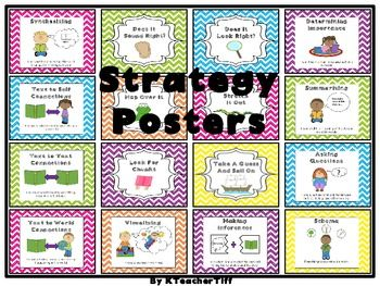 Really Cute Reading Word Attack and Comprehension Strategy Posters...great pictures to show the different metacognitive strategies for reading comprehension!