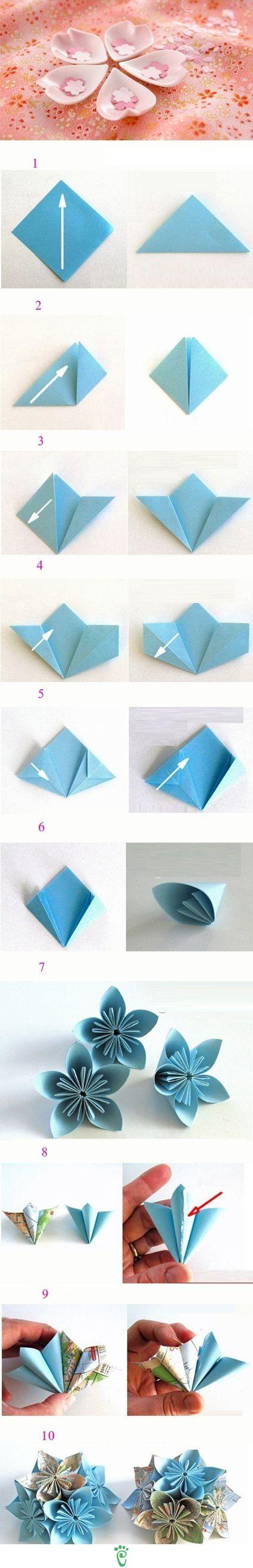 Origami Blume mit Landkarte