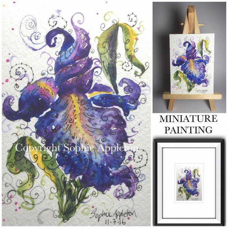 ACEO Miniature Original Watercolour Painting IRIS SWIRLS by Sophie Appleton #ACEOartcards