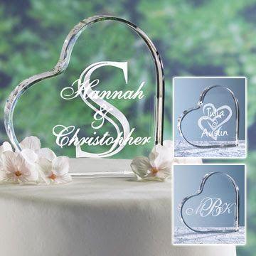 Elegant Wedding Cake Topper Glass