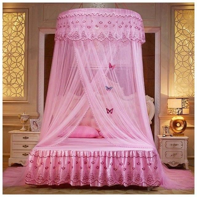 Round Lace Curtain Dome Princess Queen Bed Canopy Netting Mosquito
