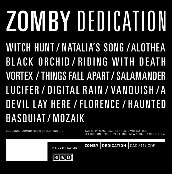 Zomby Dedication 2011 Sleeves Music Lp Vinyl Album