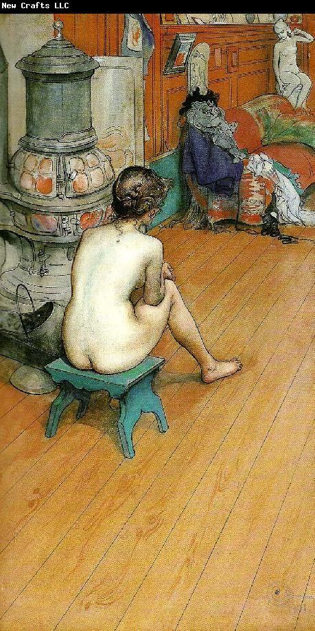 Carl Larsson leontine, naken rygg sittande-am ofen-i ateljen