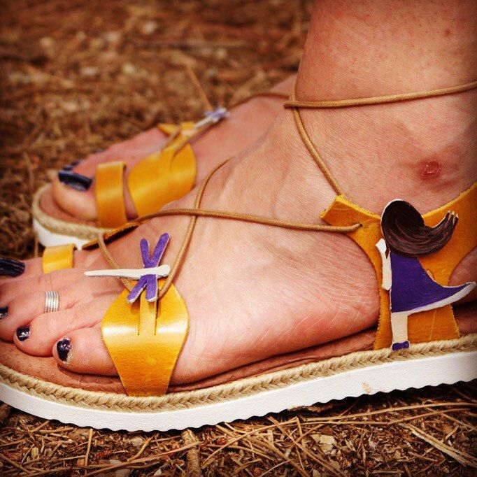 Staring the dragonflies. Handpainted Leather sandals.