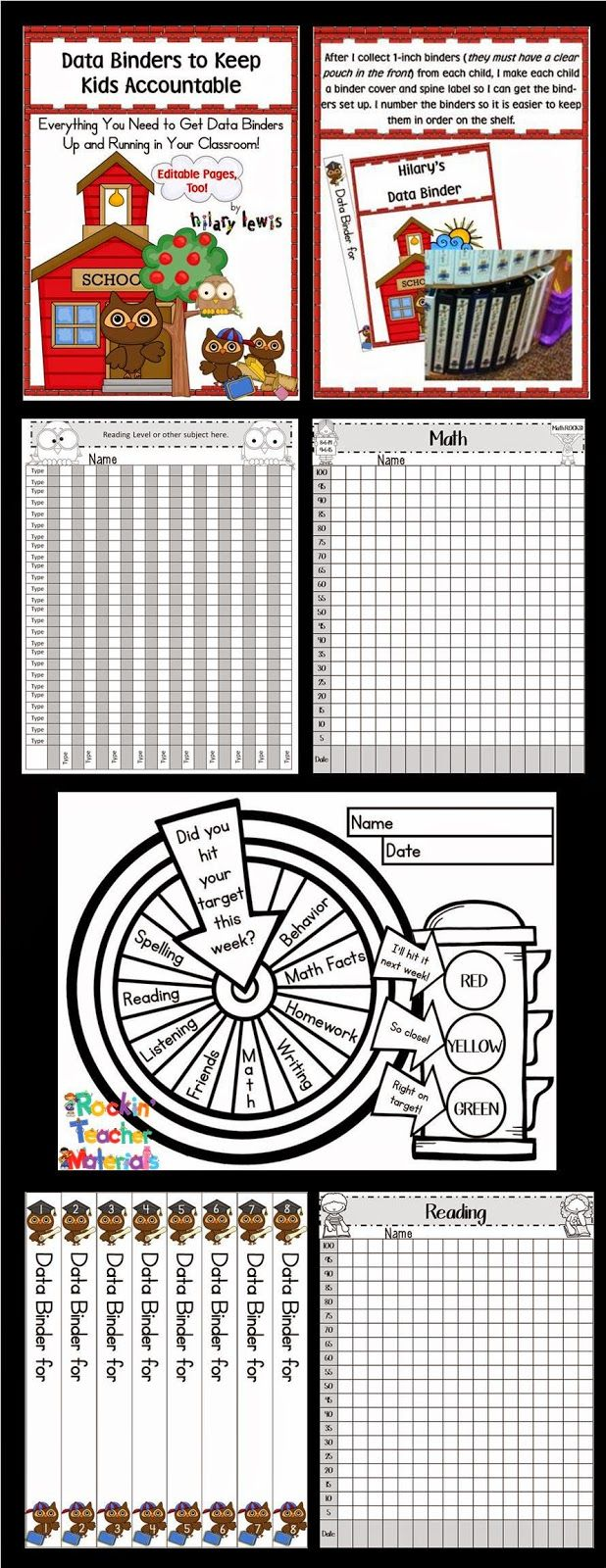Try using data binders with your class. Your kids and their parents will love seeing the growth throughout the year. Try out the free version or get the editable version to make it all your own. #www.rockinteachermaterials.com