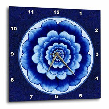 Mandala wall decor is a great waymake your home feel more relaxing. In addition, to being relaxing mandala wall decor isbeautiful,uniqueandincredibly popularright now. You will see it everywhere from bedrooms, living rooms offices, and yoga / exercise rooms.  3dRose dpp_31753_2 Pastel Blue and Cobalt Fantasy Mandala Flower on Royal Blue Background-Wall Clock, 13 By 13-Inch