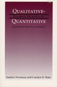 """""""Rejecting the artificial dichotomy between qualitative and quantitative research strategies in the social and behavioral sciences, Isadore Newman and Carolyn R. Benz argue that the two approaches are neither mutually exclusive nor interchangeable."""" Newman, I. and Benz, CR. 1998. Qualitative-Quantitative Research Methodology: Exploring the Interactive Continuum. Southern Illinois University Press."""