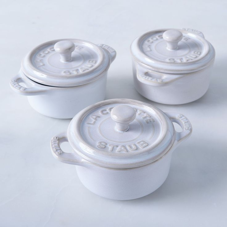 Staub Ivory Rustic Ceramic Mini Round Cocottes (Set of 3)  I really really want these!!