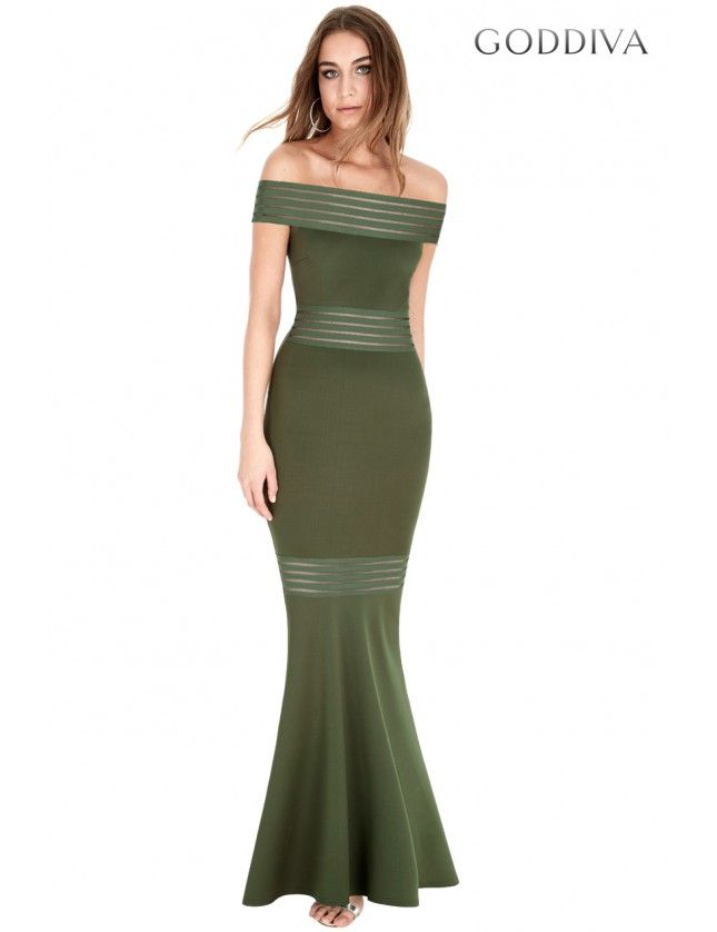 Bardot Fishtail Maxi Dress - Khaki - Front - DR639