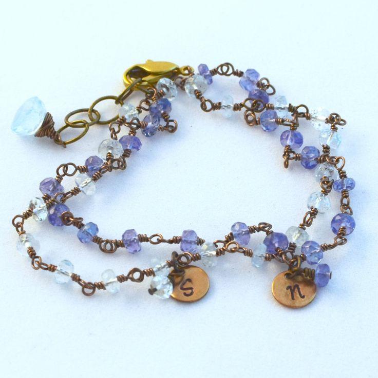 Mothers Grandmothers Jewelry Gemstone Birthstone Bracelet Garnet Amethyst Aquamarine Emerald Pearl Ruby Peridot Sapphire Tourmaline by KimCuddyDesigns on Etsy