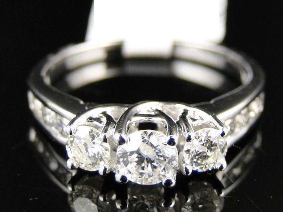 Vintage Style Three-Stone Round Diamond Wedding Anniversary Ring Set 925 Silver #ThreeStone #EngagementWeddingAnniversaryDailyWear