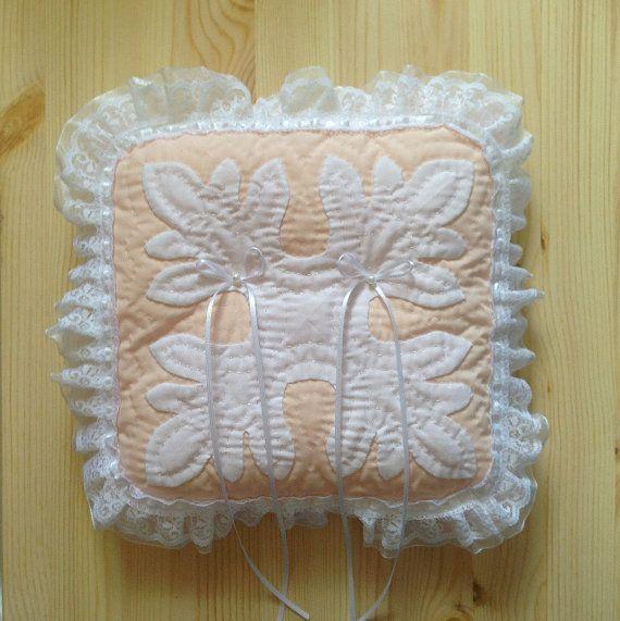 Hawaiian quilt wedding pillow pastelcolored pink by shopLehua, ¥5000