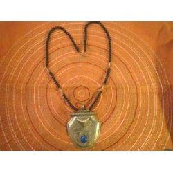 collier argent touareg onyx noir & calcédoine bleue